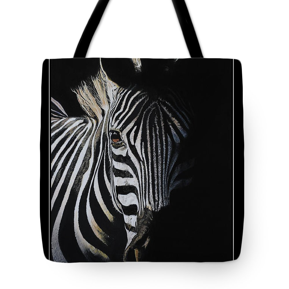 Zebra.horse.wild.wildlife.life.nature.portrait.drawing.pastel.artist.face.africa. Tote Bag featuring the drawing Stripe by Sarah Worrell