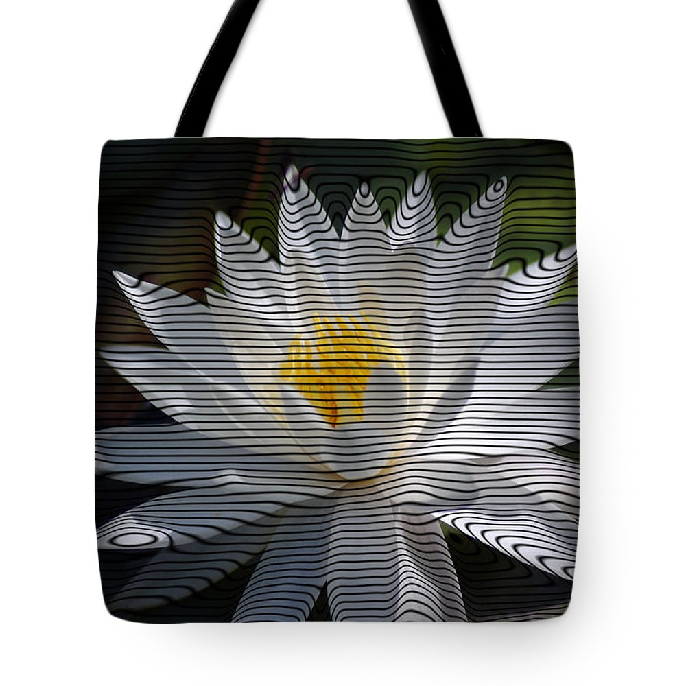 Waterlily Tote Bag featuring the photograph Stripped Waterlily by Donna Bentley