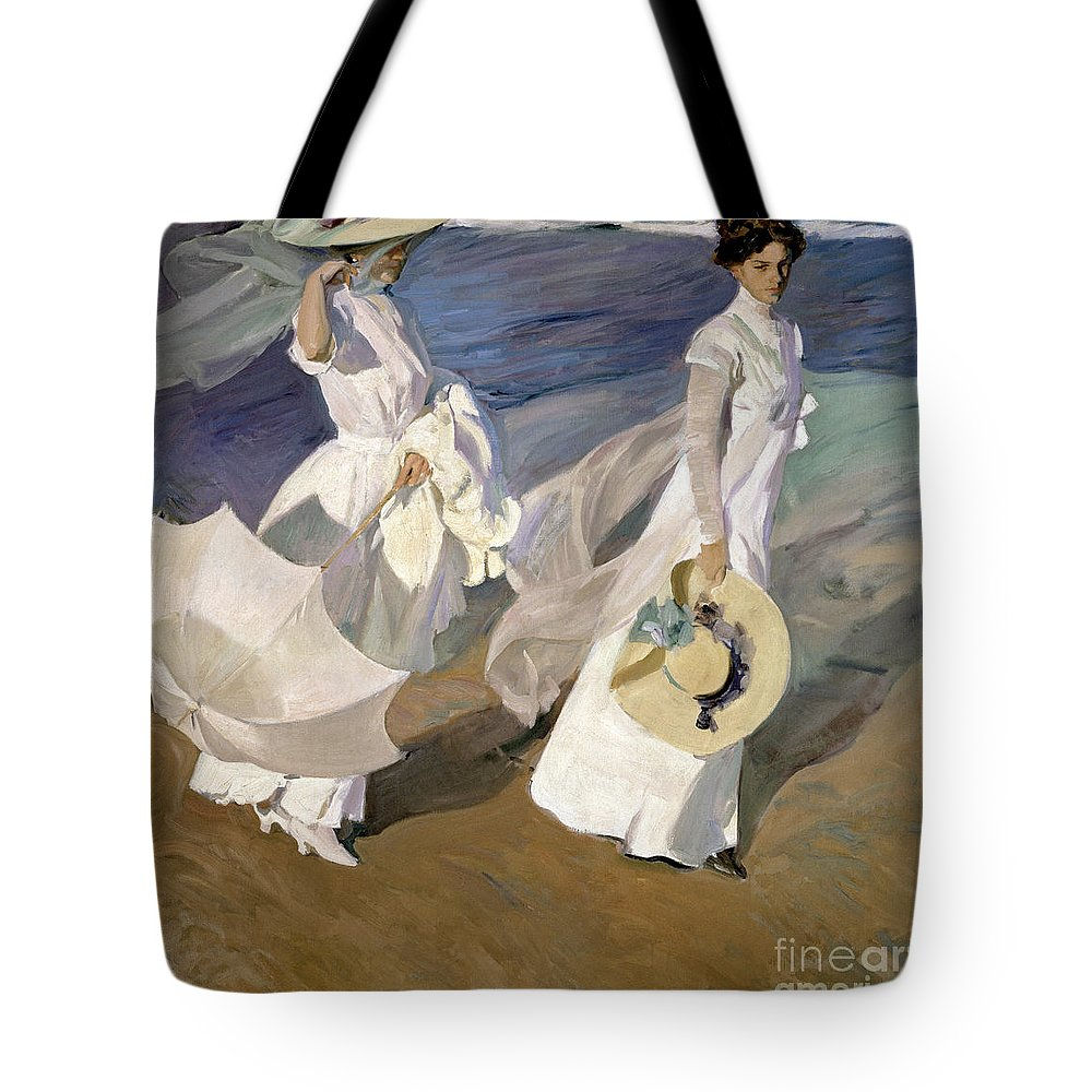 Sorolla Tote Bag featuring the painting Strolling Along The Seashore by Joaquin Sorolla y Bastida