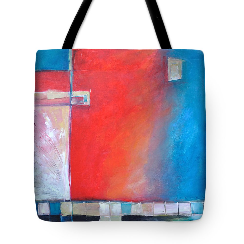 Abstract Tote Bag featuring the painting Structures And Solitude Revisited by Tim Nyberg