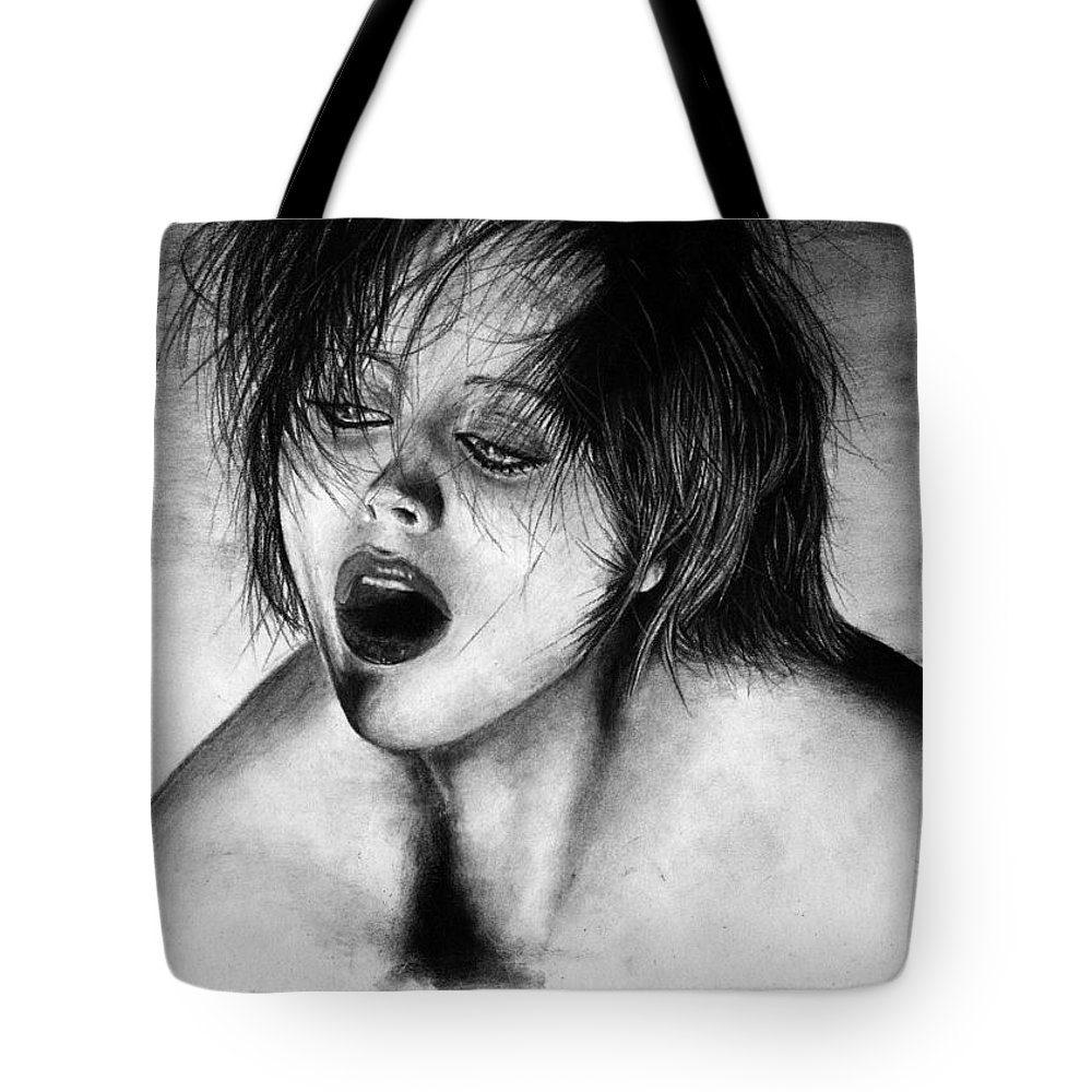 Drugs Altered States Out Strung Woman Girl Celebrity Nude Beautiful Hair Chic Glamour Noir Sexy Hot Tote Bag featuring the drawing Strung Out by Priscilla Vogelbacher