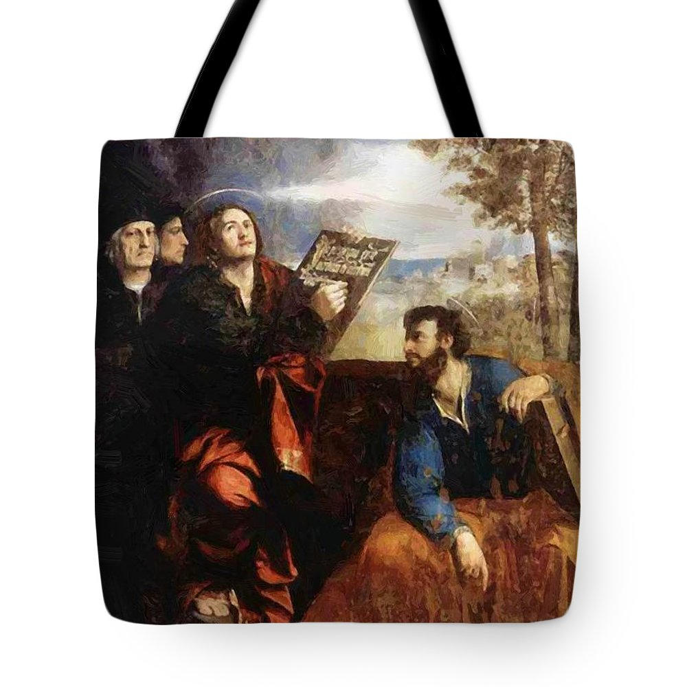 Sts Tote Bag featuring the painting Sts John And Bartholomew With Donors 1527 by Dossi Dosso