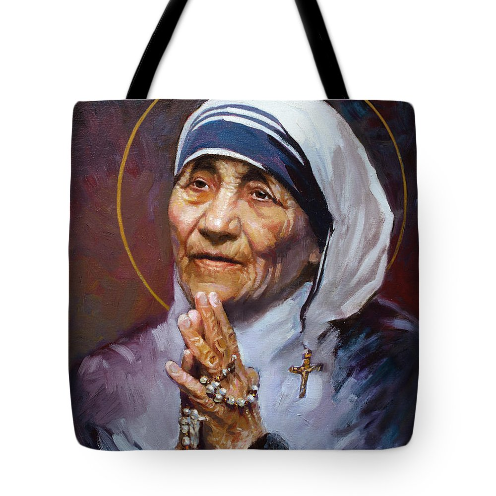 St.teresa Tote Bag featuring the painting St.teresa Of Calcutta by Ylli Haruni