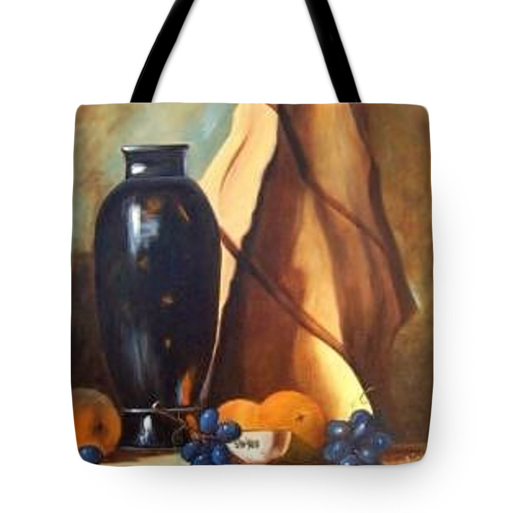 Dramatic Still Life With Interesting Play With Light Tote Bag featuring the painting Studio Arrangement by Susan Dehlinger