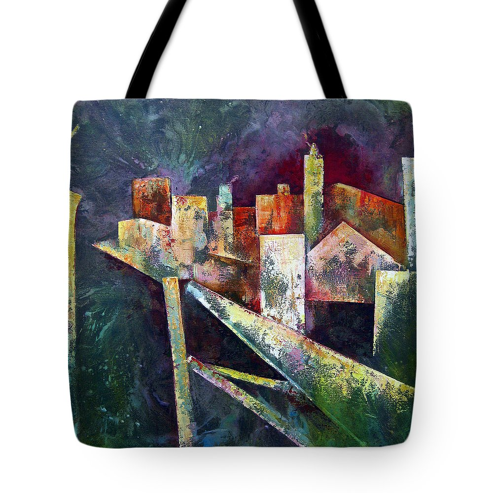Abstract Paintings Tote Bag featuring the painting Studio by Shadia Derbyshire