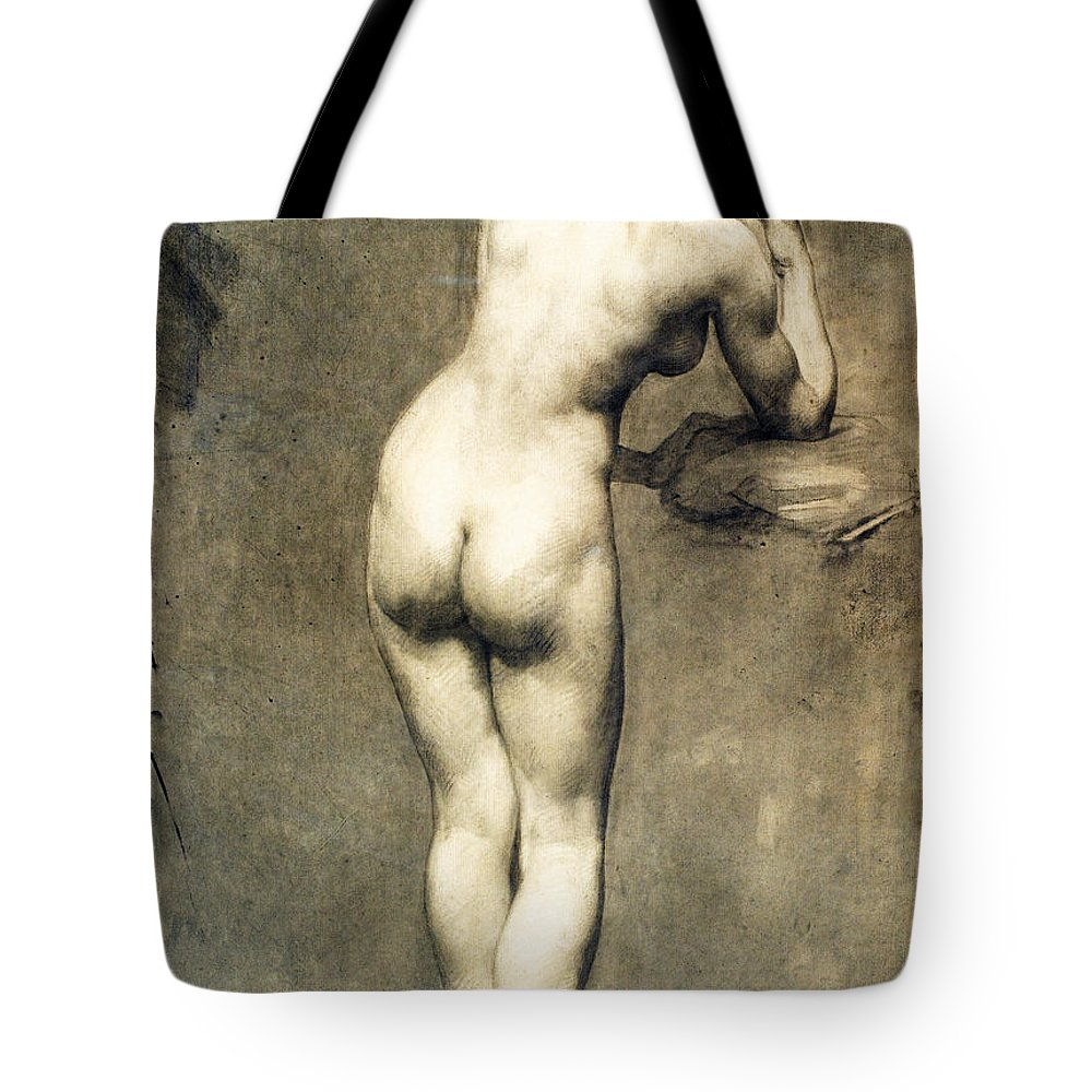 Eugene Delacroix Tote Bag featuring the drawing Study For Mademoiselle Rose by Eugene Delacroix