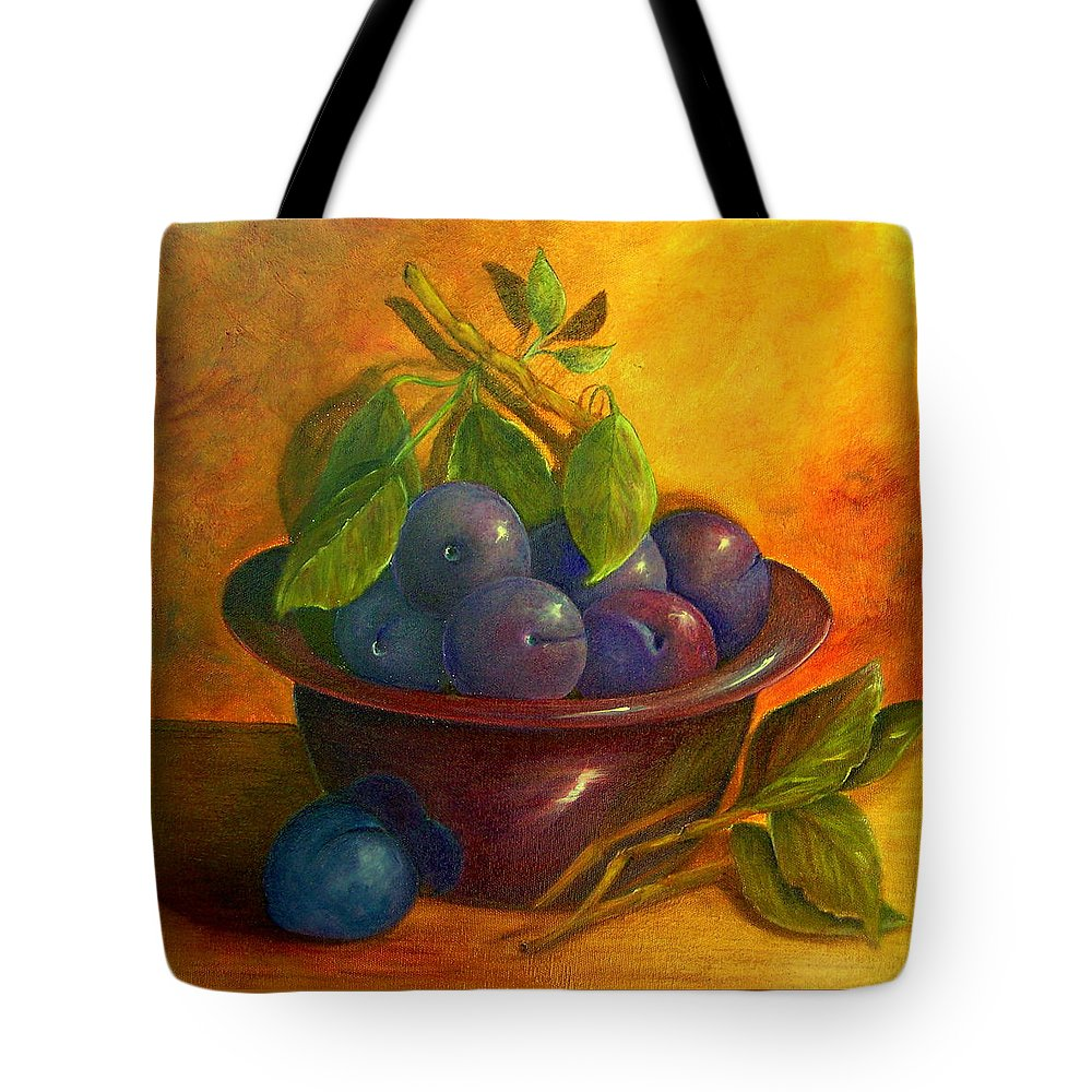 Still Life Tote Bag featuring the painting Study In Purple by Susan Dehlinger
