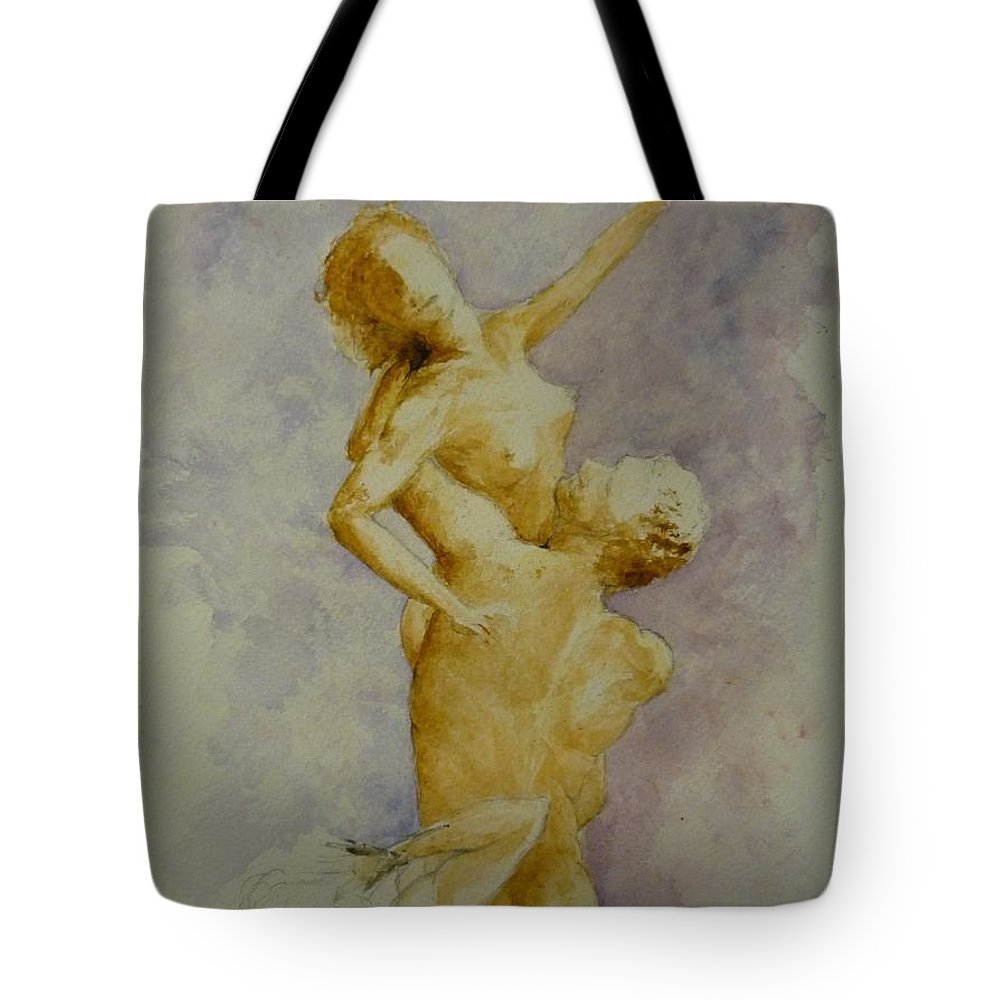Nude Tote Bag featuring the painting Study In Watercolour by Lizzy Forrester