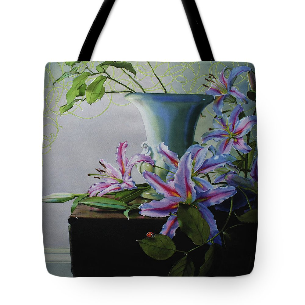 Lily Tote Bag featuring the painting Study Of A Lady Bug Beetle by Denny Bond