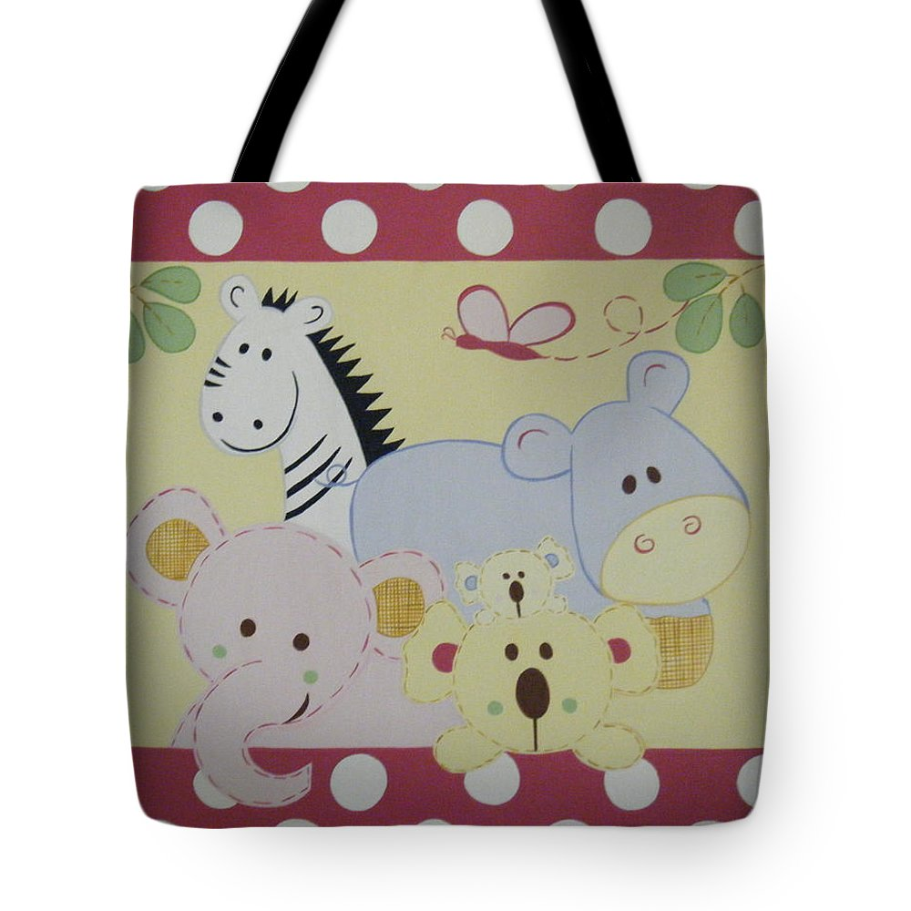Hippo Tote Bag featuring the painting Stuffed Animals by Valerie Carpenter