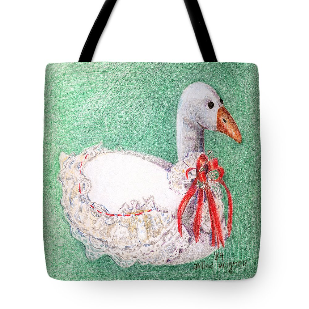 Goose Tote Bag featuring the drawing Stuffed Goose by Arline Wagner