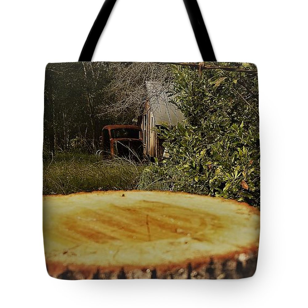 Country Barn Auto Car Stump Old Tote Bag featuring the photograph Stump Barn Car by Lee Barrett