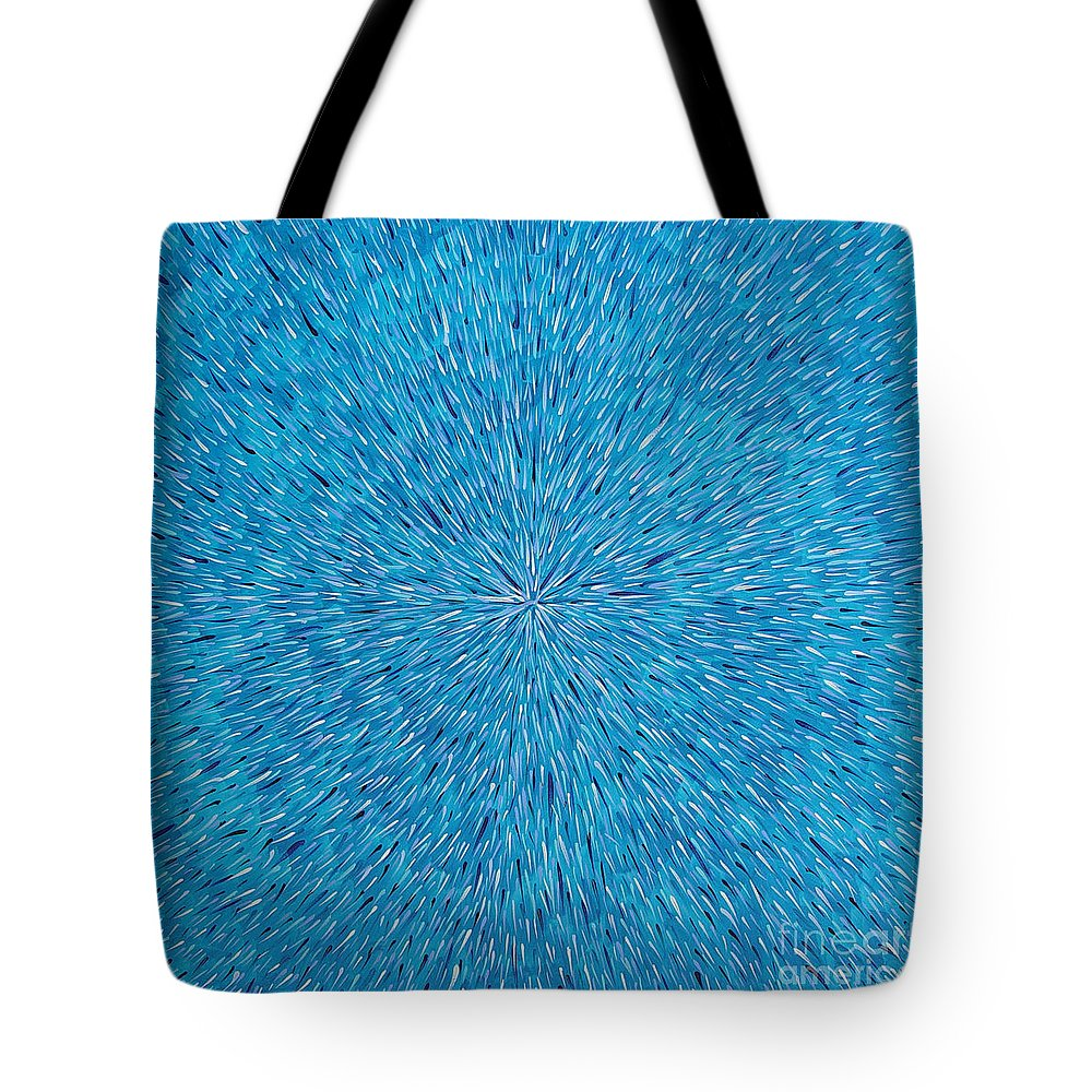 Abstract Tote Bag featuring the painting Su Gaia Rain by Dean Triolo