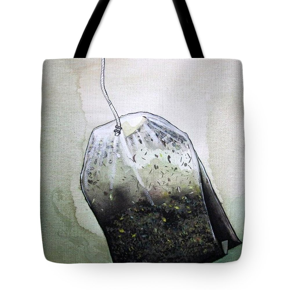 Submerged Tote Bag featuring the painting Submerged Tea Bag by Mary Ellen Frazee