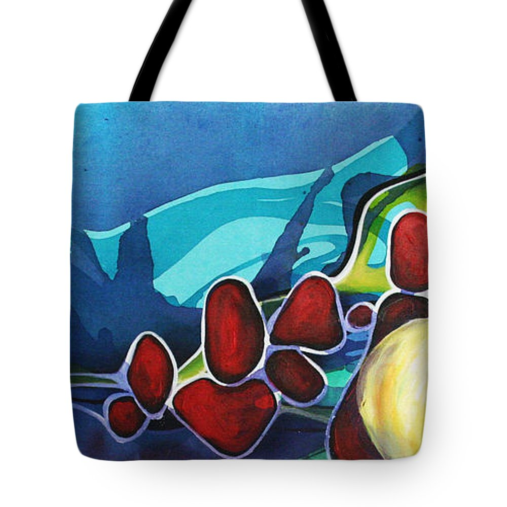 Non Representational Tote Bag featuring the painting Subsiding Into Me by Darcy Lee Saxton