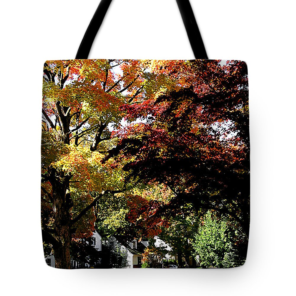 Autumn Tote Bag featuring the photograph Suburban Autumn by Susan Savad