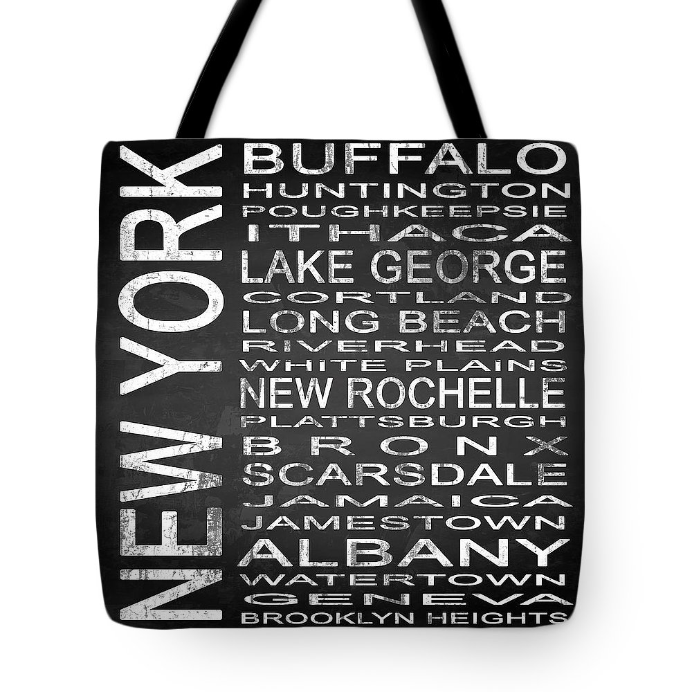 Subway Sign Tote Bag featuring the digital art Subway New York State Square by Melissa Smith