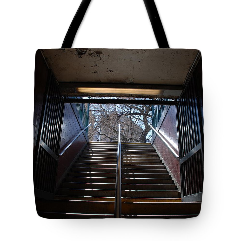 Pop Art Tote Bag featuring the photograph Subway Stairs To Freedom by Rob Hans