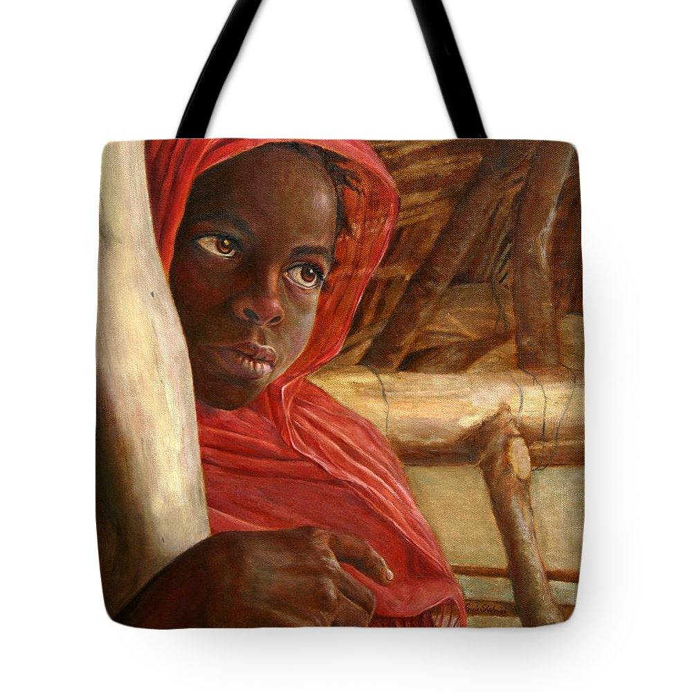 Children Painting Tote Bag featuring the painting Sudanese Girl by Enzie Shahmiri
