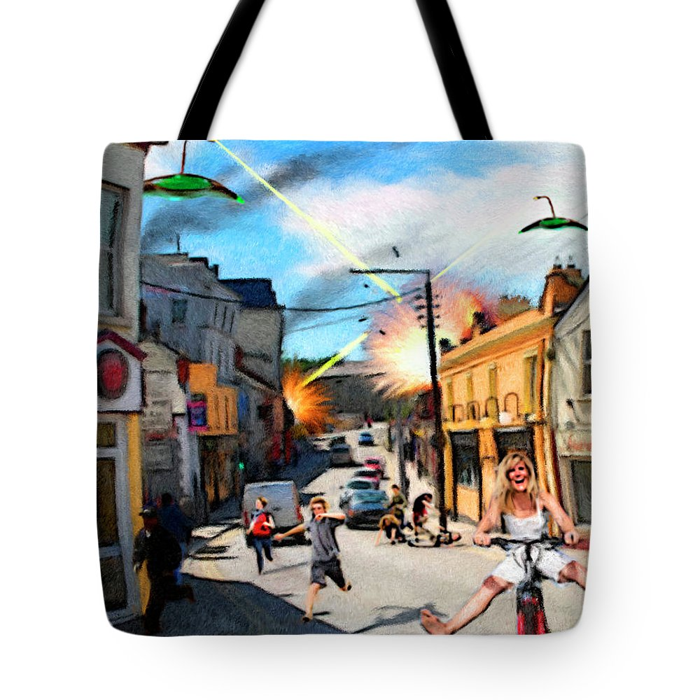 People Tote Bag featuring the digital art Sudden Attack by Snake Jagger