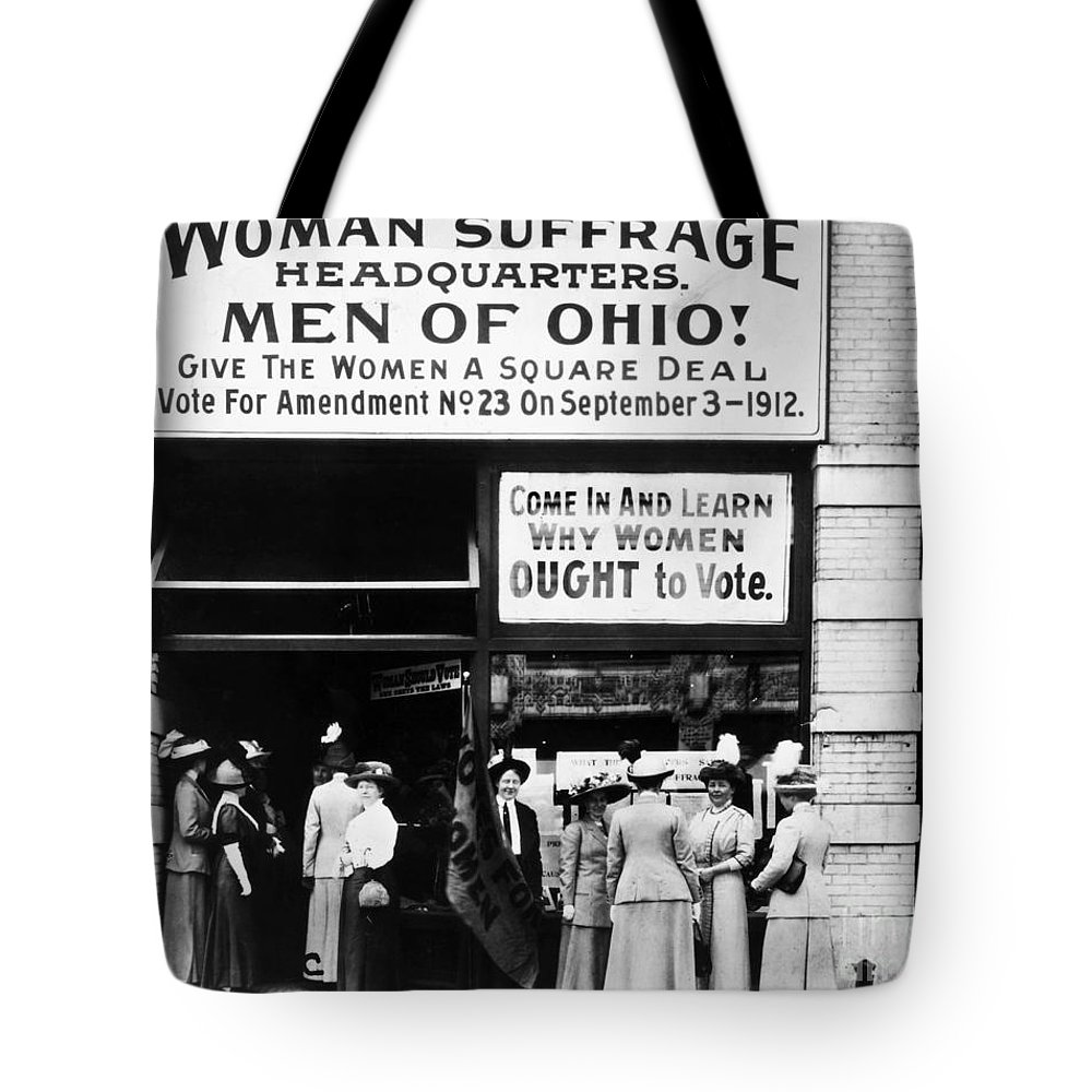 1912 Tote Bag featuring the photograph Suffrage Headquarters by Granger
