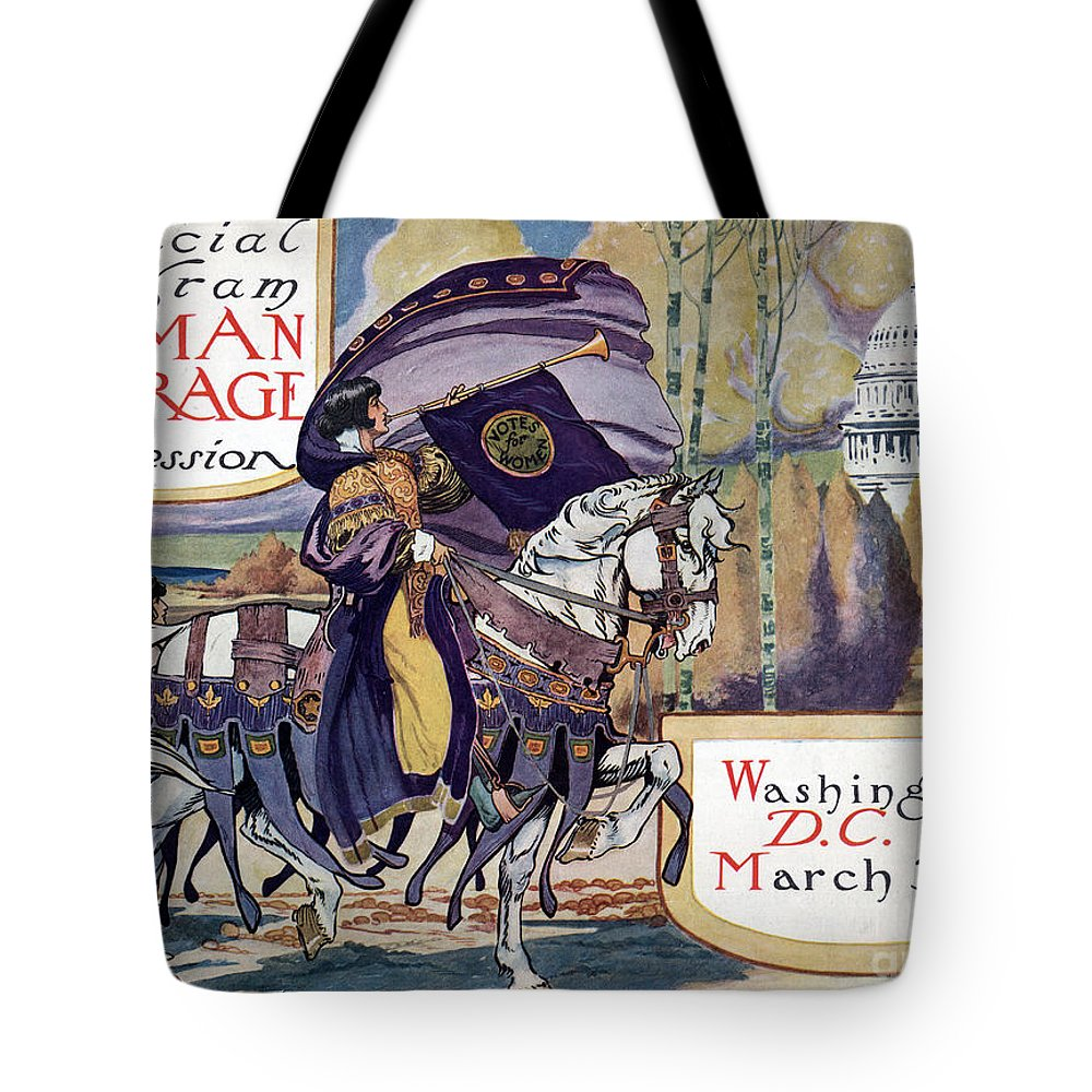 1913 Tote Bag featuring the photograph Suffragette Parade, 1913 by Granger