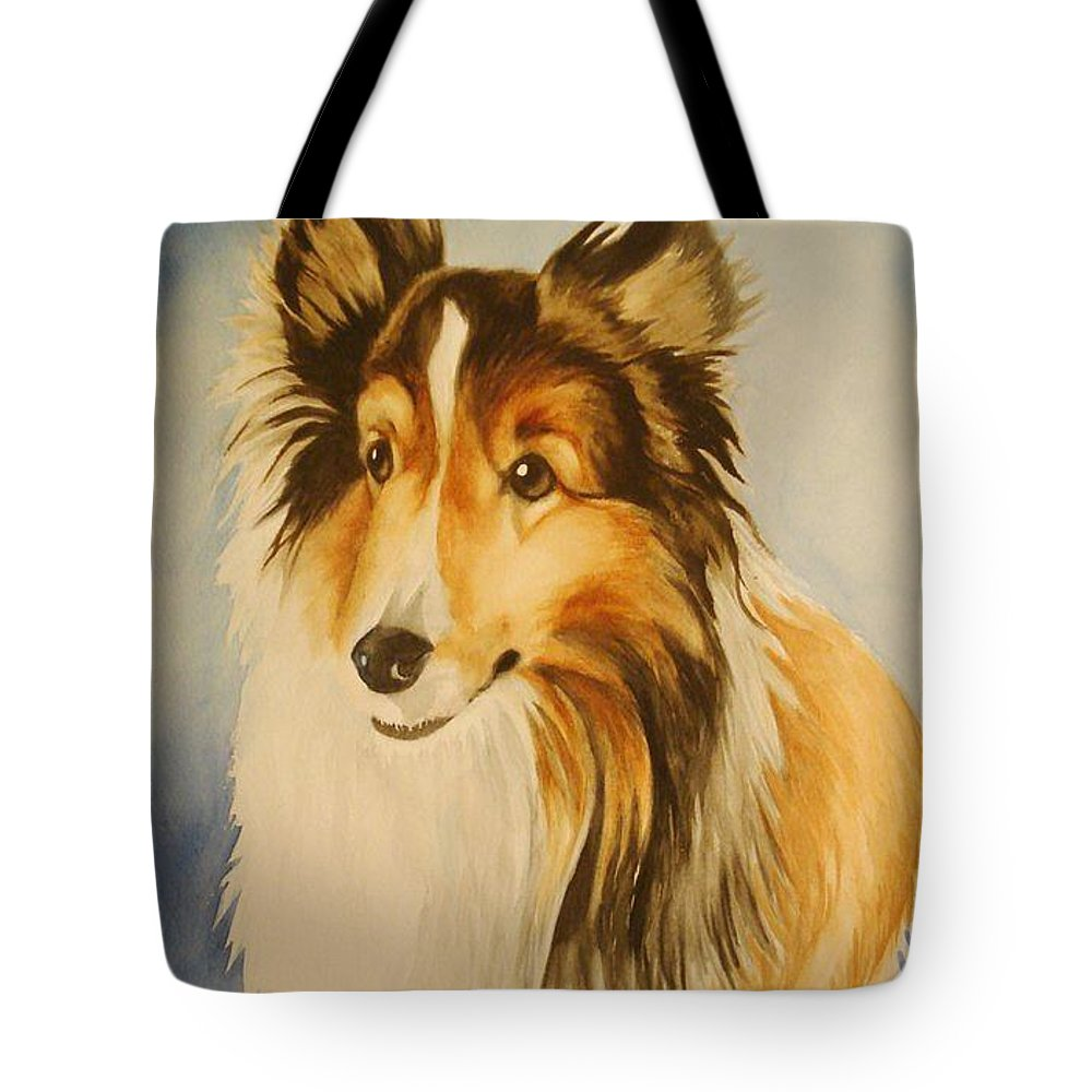 Sheltie Tote Bag featuring the painting Sugar by Marilyn Jacobson