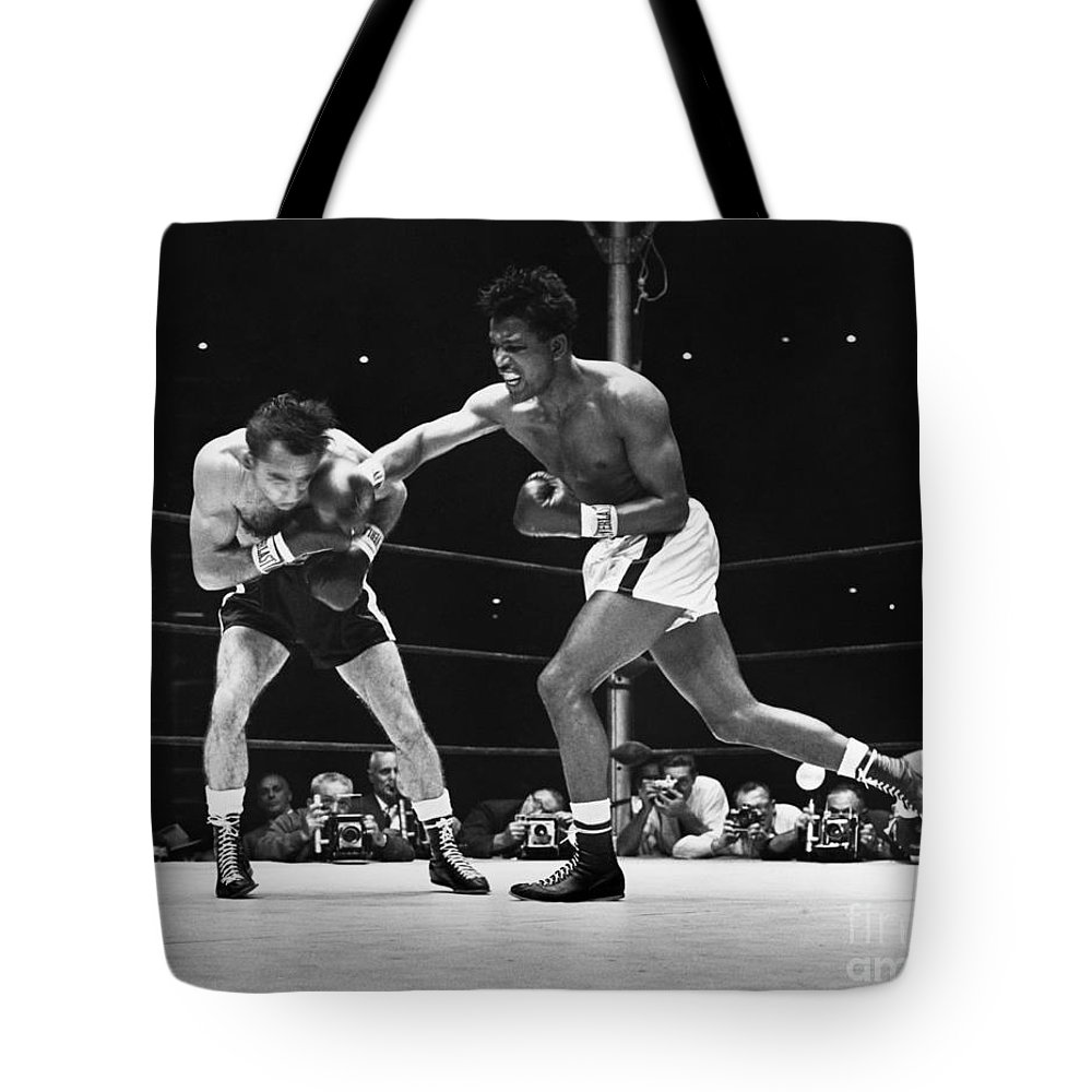 1957 Tote Bag featuring the photograph Sugar Ray Robinson by Granger