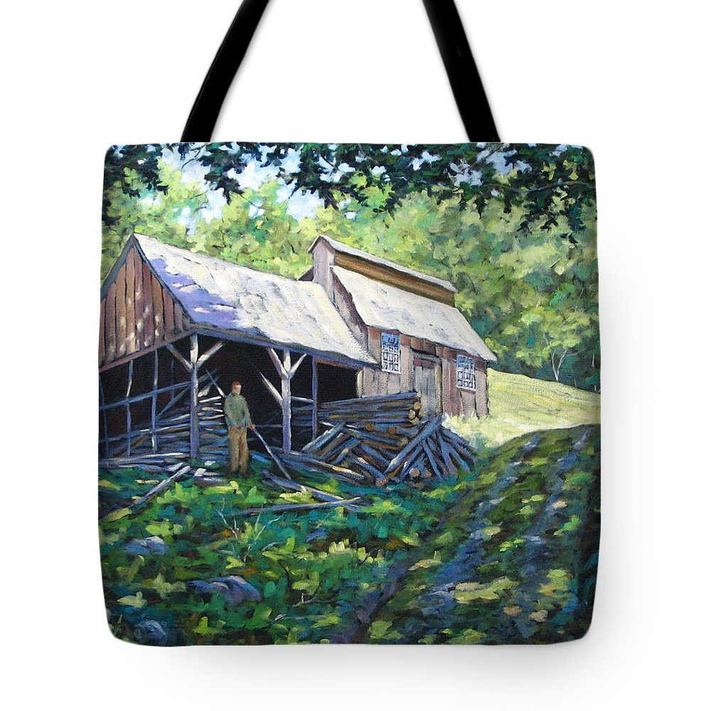 Sugar Shack Tote Bag featuring the painting Sugar Shack In July by Richard T Pranke