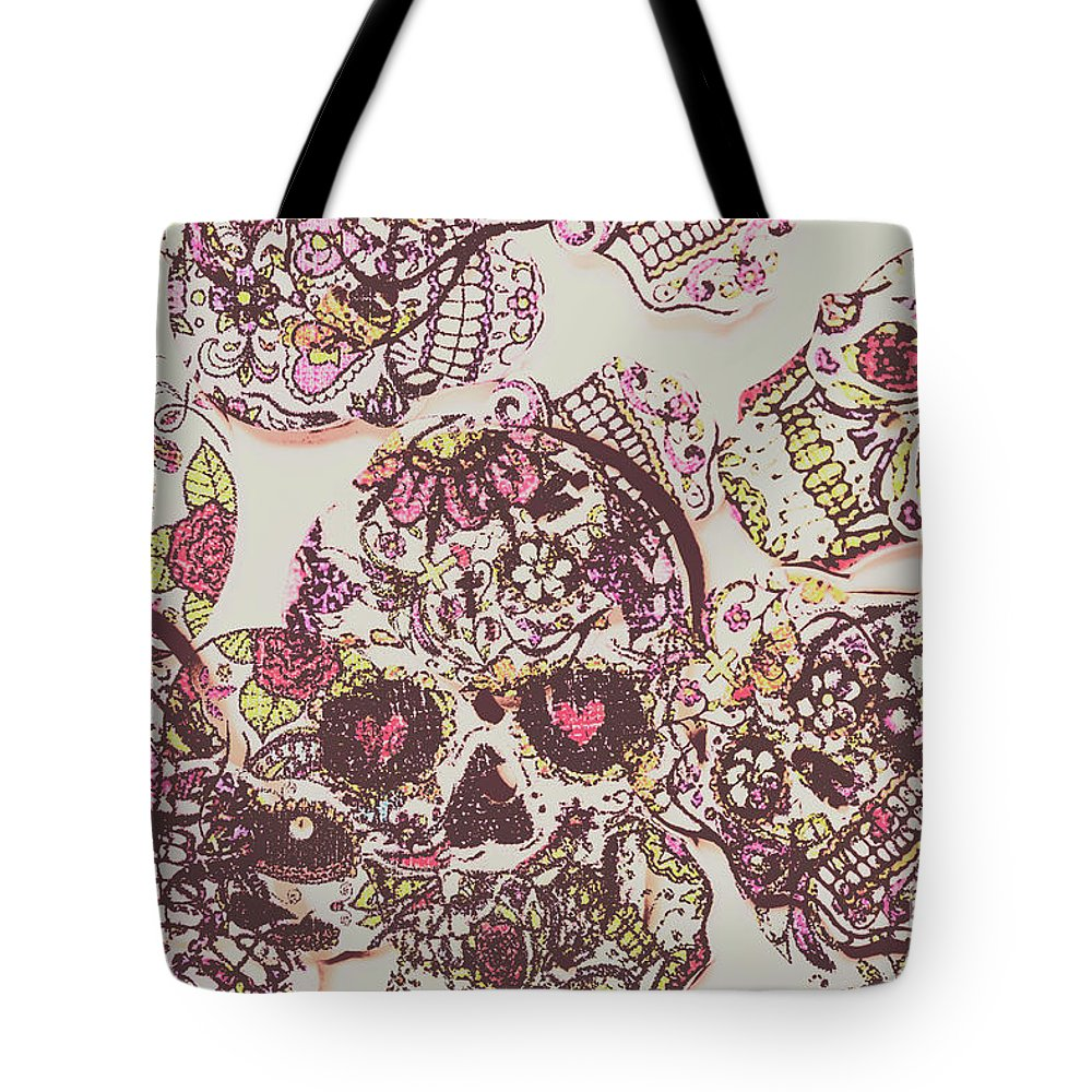 Punk Tote Bag featuring the photograph Sugarskull Punk Patchwork by Jorgo Photography - Wall Art Gallery