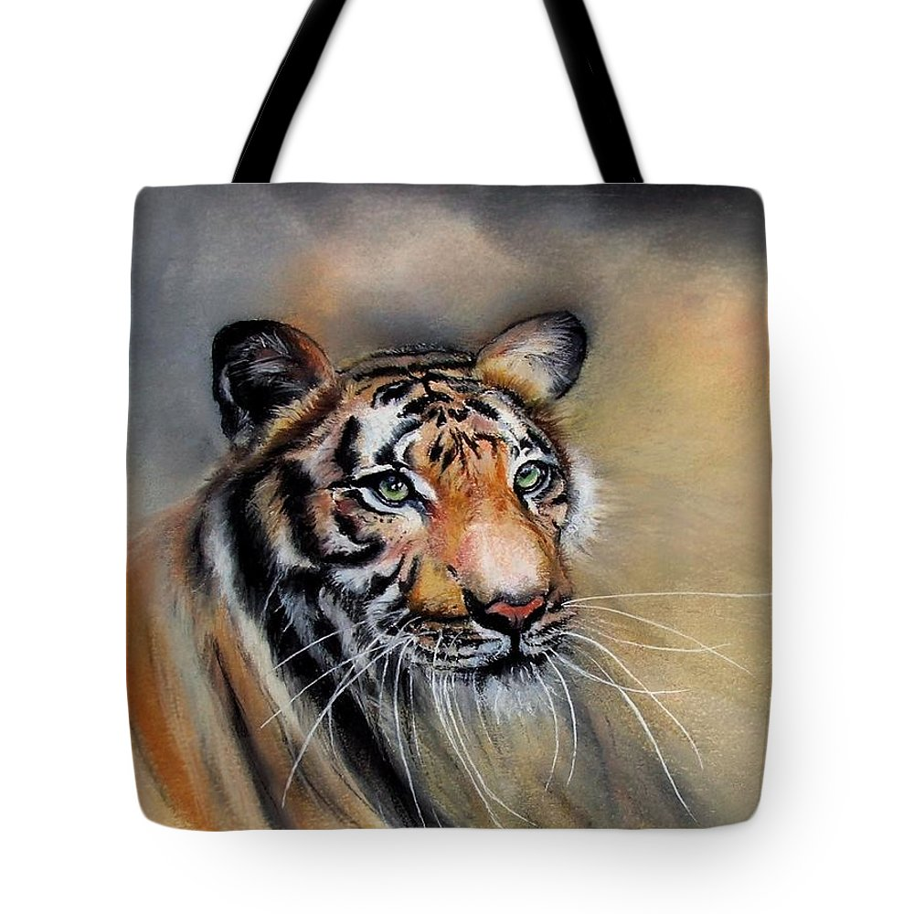Tiger Tote Bag featuring the painting Suka by Linda Woodward