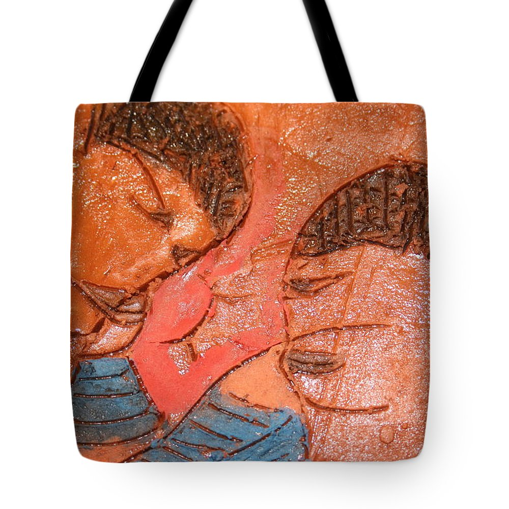 Jesus Tote Bag featuring the ceramic art Sulk - Tile by Gloria Ssali