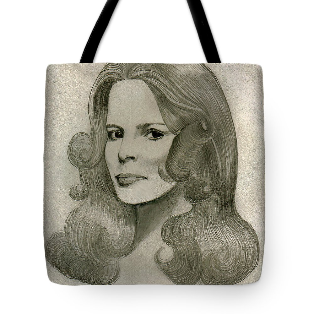 Drawing Tote Bag featuring the drawing Sultry Smile by Marco Morales