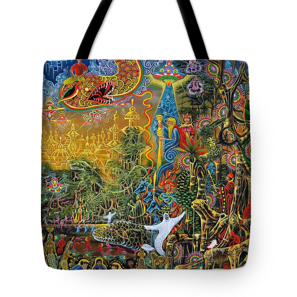 Pablo Amaringo Tote Bag featuring the painting Sumac Icaro by Pablo Amaringo