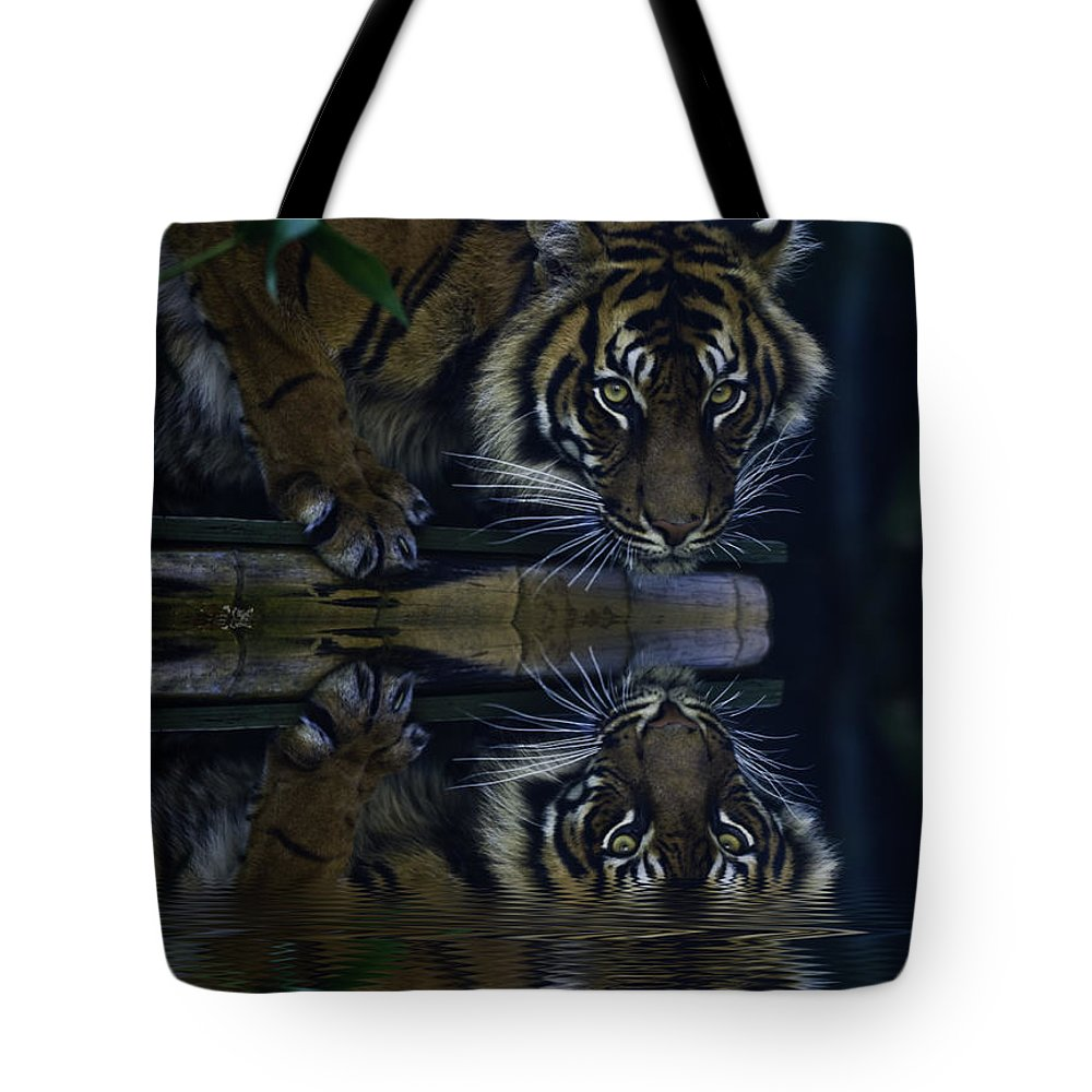 Sumatran Tiger Tote Bag featuring the photograph Sumatran Tiger Reflection by Sheila Smart Fine Art Photography