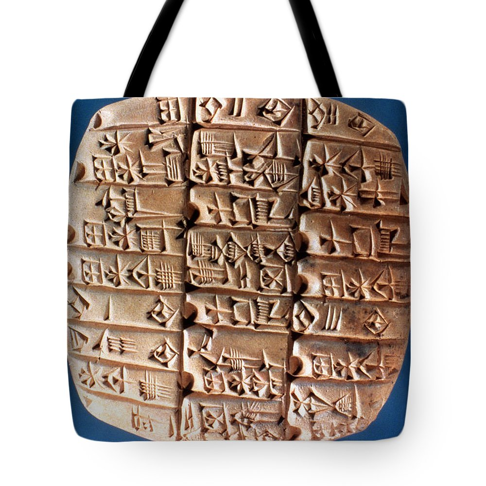 3rd Millennium B.c Tote Bag featuring the photograph Sumer Tablet Of Accounts by Granger