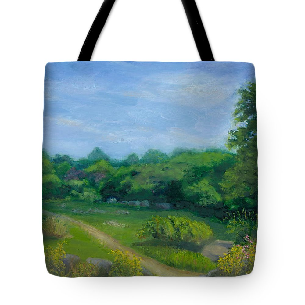 Landscape Tote Bag featuring the painting Summer Afternoon At Ashlawn Farm by Paula Emery