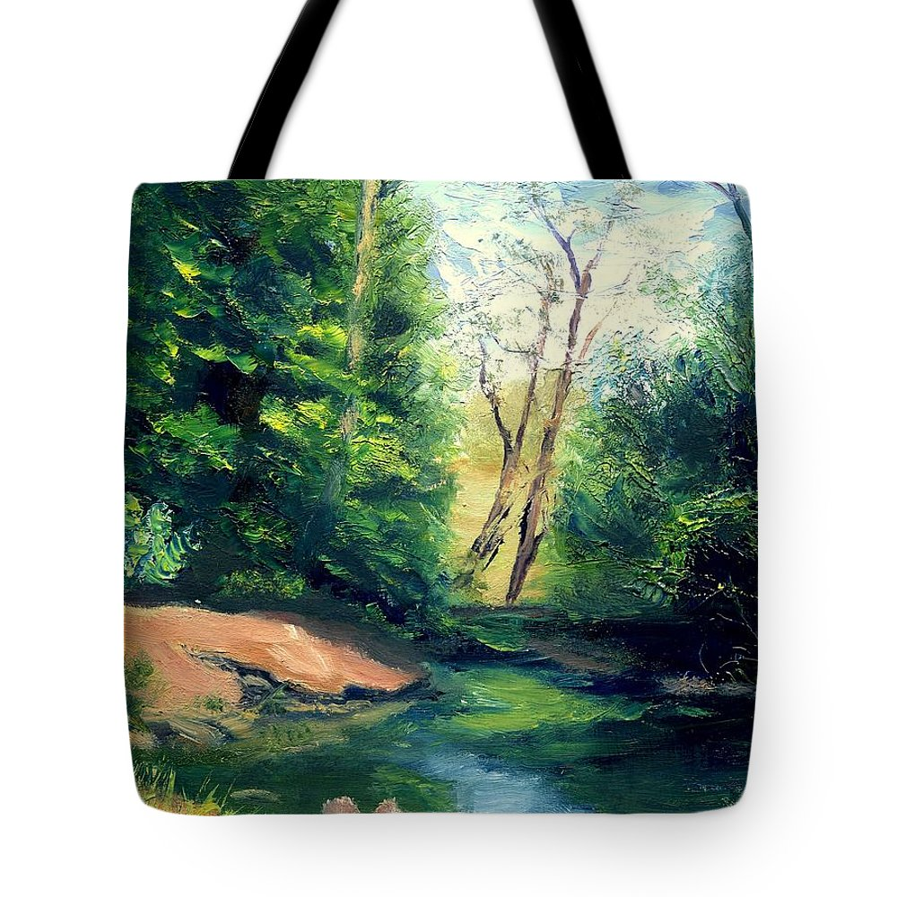 Landscape Tote Bag featuring the painting Summer At Storm by Gail Kirtz