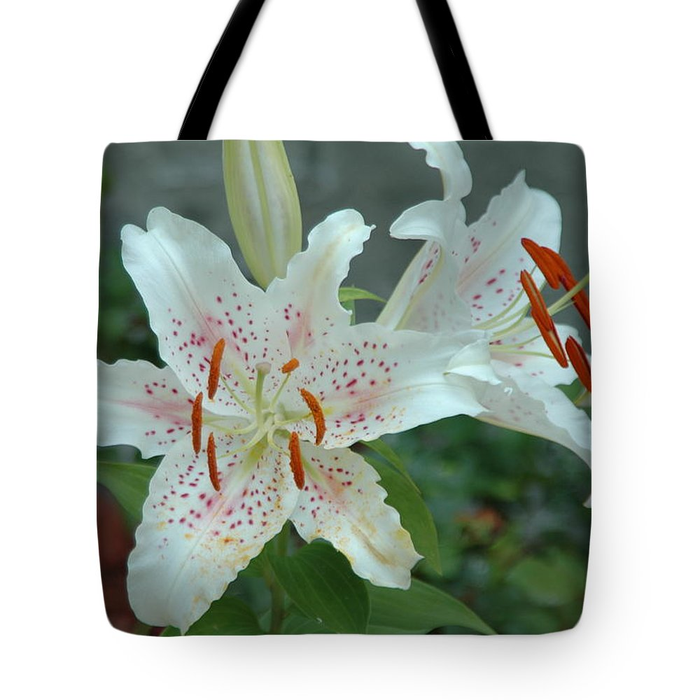 Florwers Tote Bag featuring the photograph White Tiger Lilies by Nella Marie