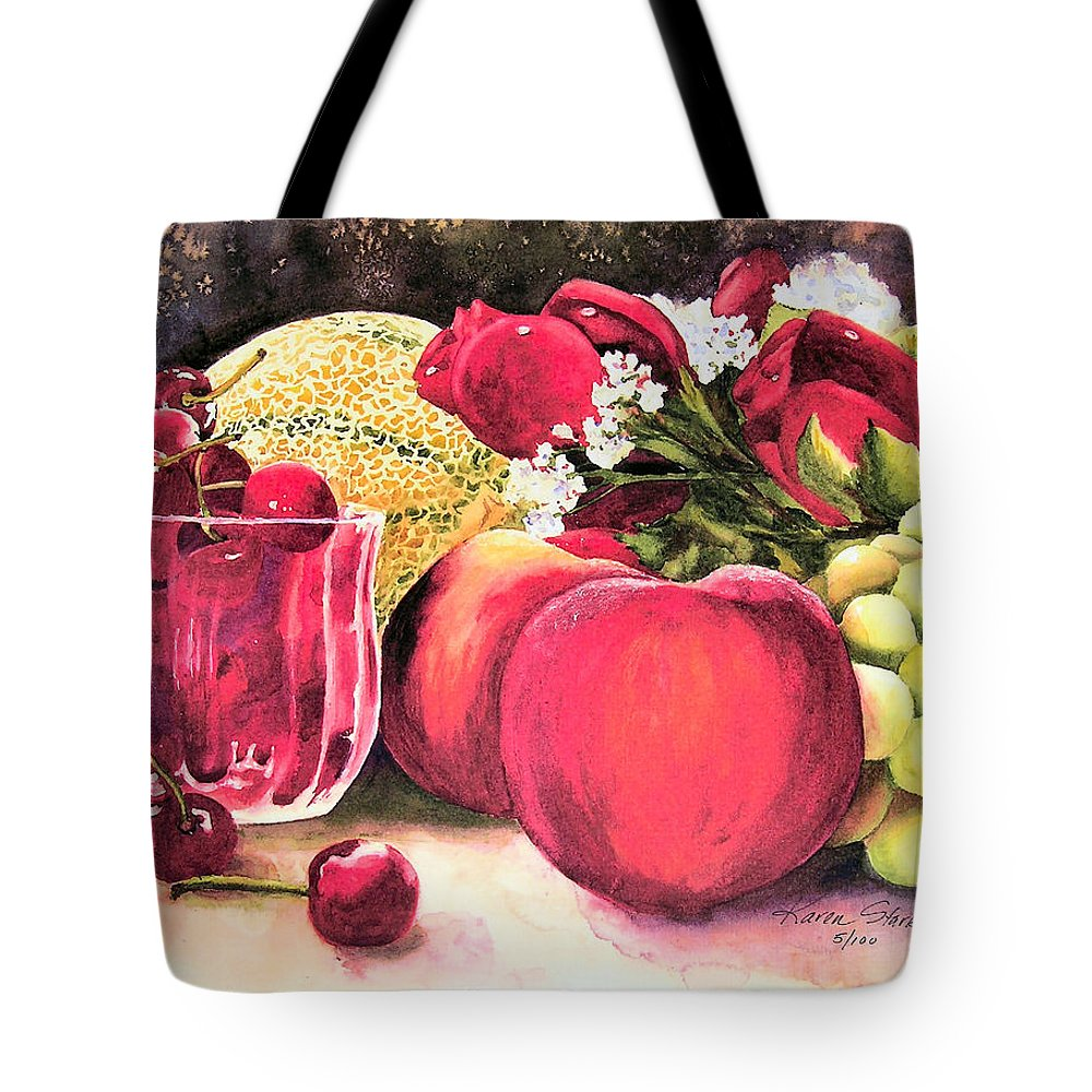 Cherries Tote Bag featuring the painting Summer Bounty by Karen Stark