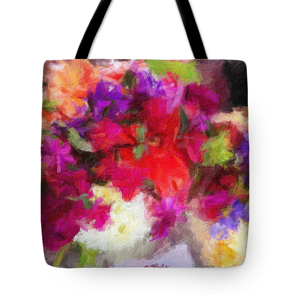 Summer Tote Bag featuring the digital art Summer Bouquet by Sarah West