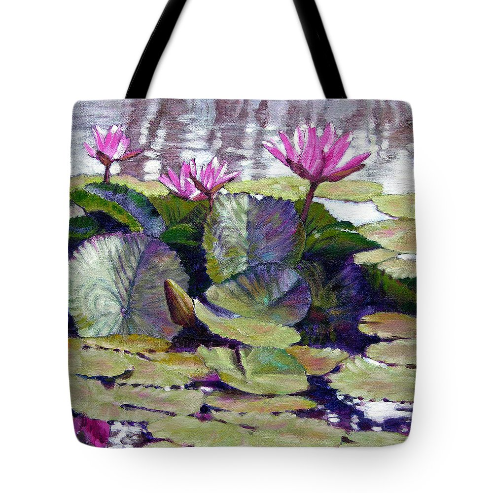 Water Lilies Tote Bag featuring the painting Summer Breeze by John Lautermilch