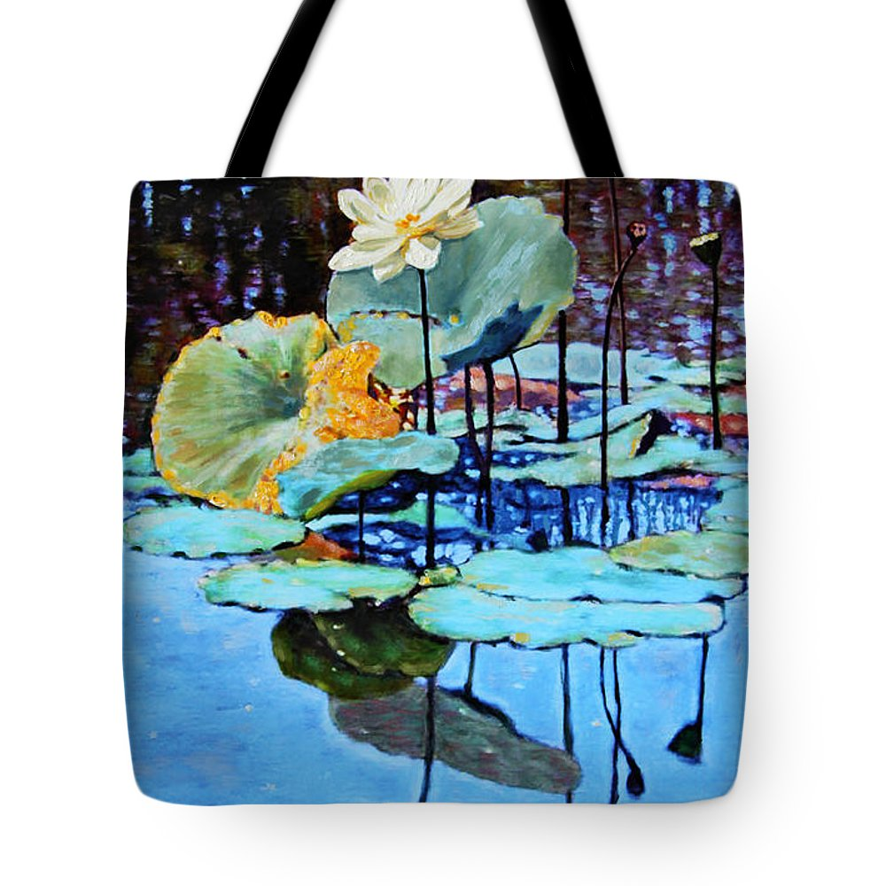 Lotus Flower Tote Bag featuring the painting Summer Calm by John Lautermilch