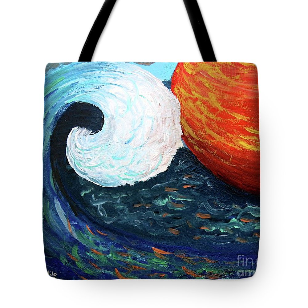 Sea Tote Bag featuring the painting Summer Clash by Ania M Milo