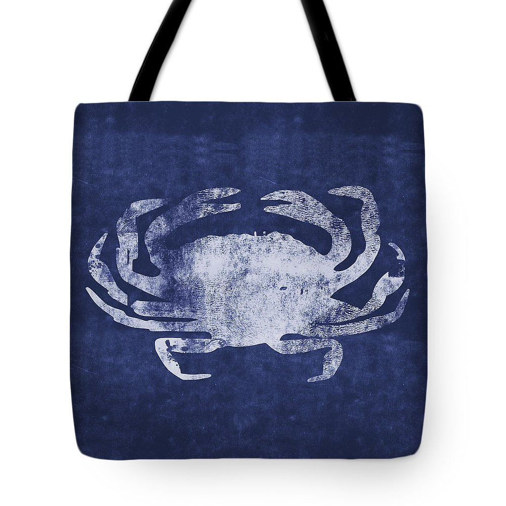 Nantucket Tote Bag featuring the mixed media Summer Crab- Art By Linda Woods by Linda Woods