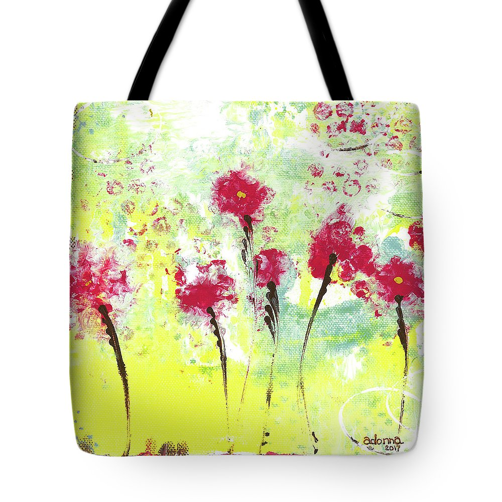 Flowers Tote Bag featuring the mixed media Summer Dance by Adonna Ebrahimi