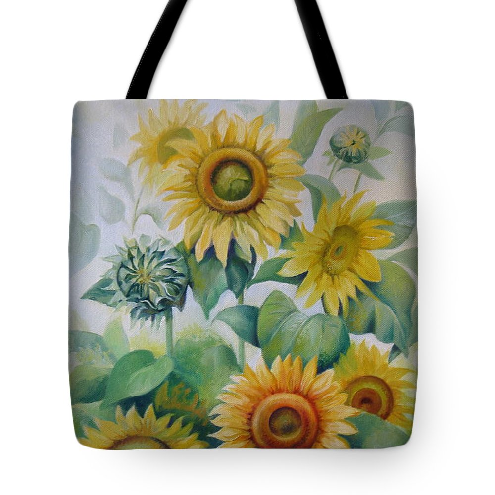 Sunflowers Tote Bag featuring the painting Summer Day by Elena Oleniuc
