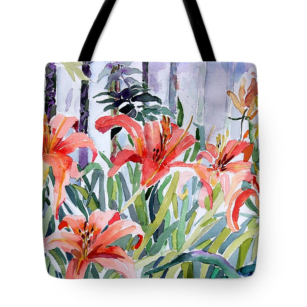 Day Lily Tote Bag featuring the painting My Summer Day Liliies by Mindy Newman