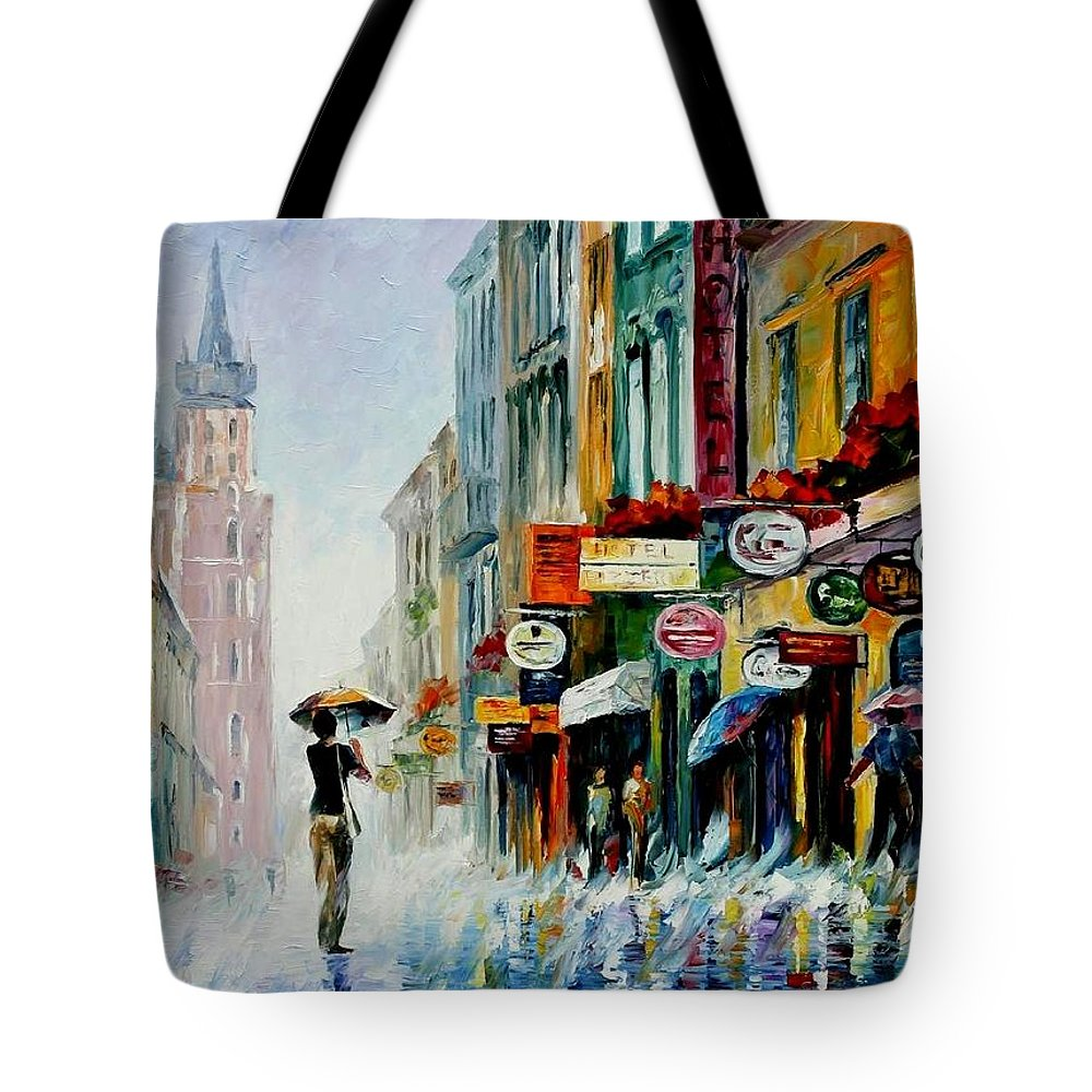 Afremov Tote Bag featuring the painting Summer Downpour by Leonid Afremov