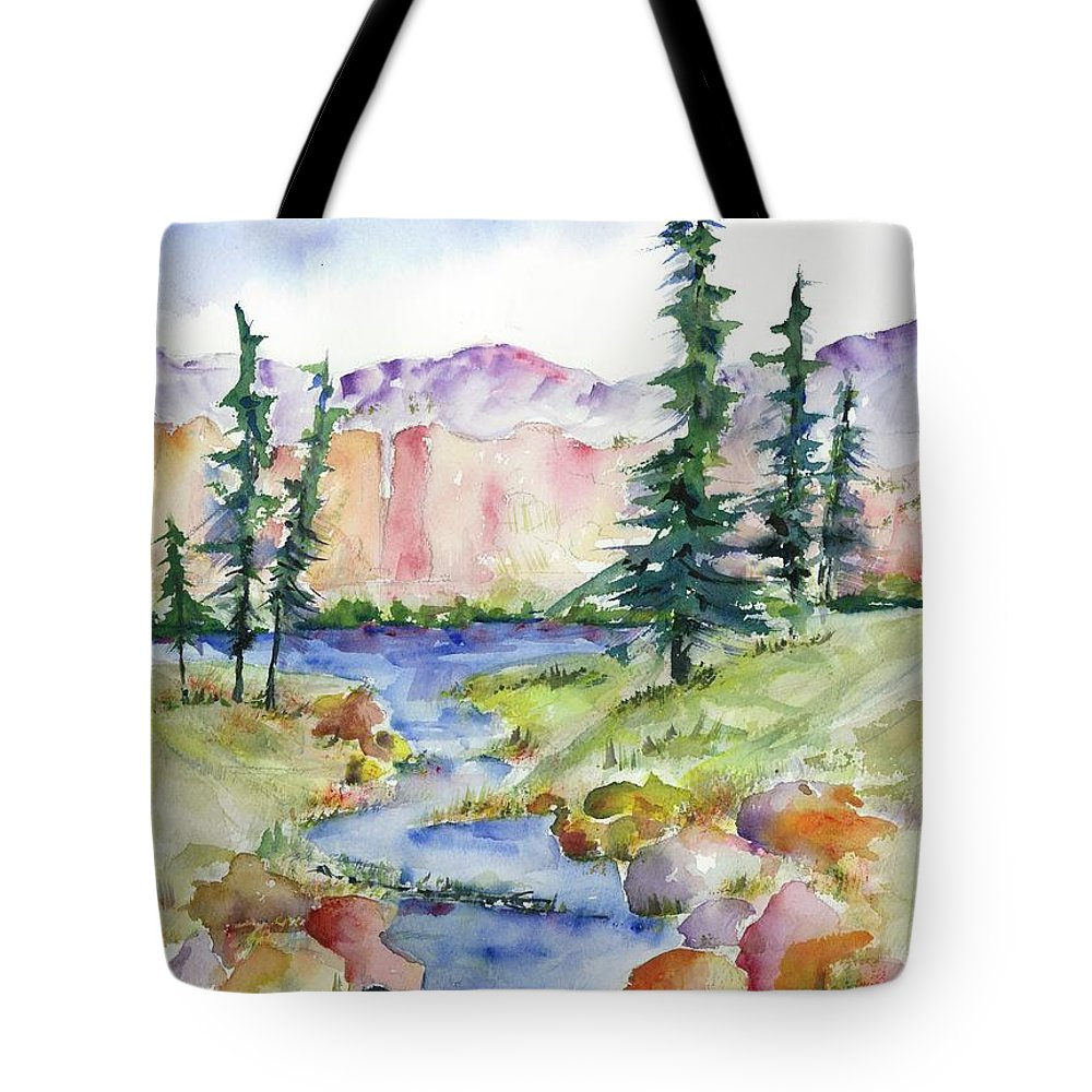 Mountains Tote Bag featuring the painting Summer Escape by Jackie Brigham
